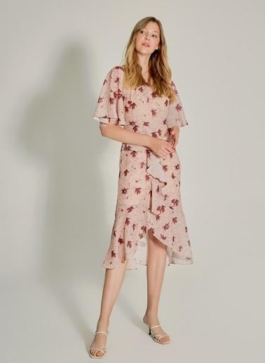 NGSTYLE Volan Detaylı Midi Elbise Bordo